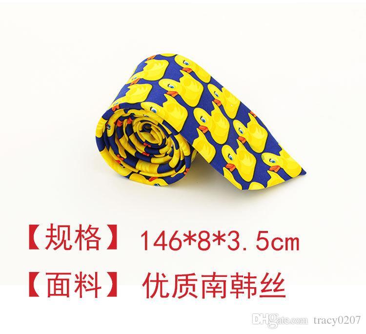 2016 NUOVI Uomini Collo in fibra di poliestere Cravatte nodi Cravatta da uomo Modello di anatra gialla Design stretto a punta fine Cravatta arder Collo