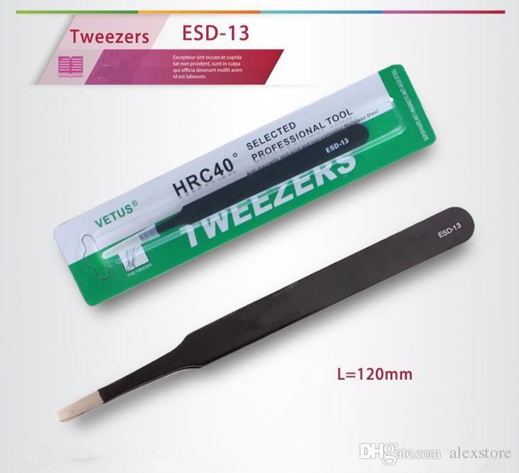 Pince à épiler noire VETUS HRC40 ESD-10 ESD-11 ESD-12 ESD-13 ESD-14 ESD-15 antistatique en acier inoxydable pour outil de réparation de réparation DHL
