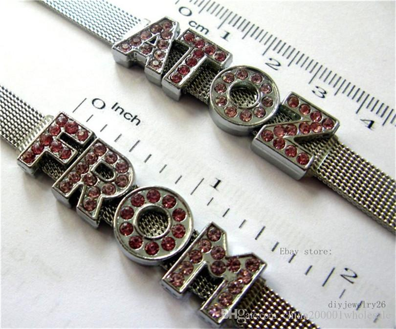 Großhandelspreis 8mm A-Z Zink-Legierung roten Strass Diabuchstaben DIY fit 8mm Gurt-freies Verschiffen