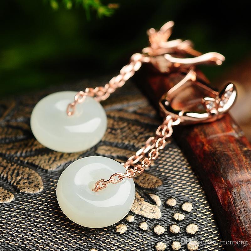 925 de prata embutidos hetian jade botão de paz brincos vento Nacional para as mulheres