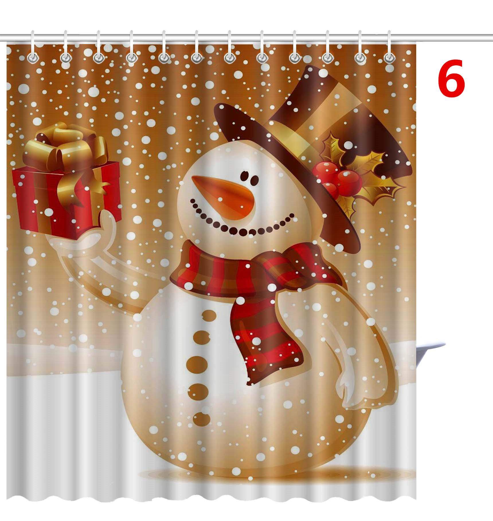 Discount Shower Curtain Merry Christmas Sleepy Snowman Pattern ...