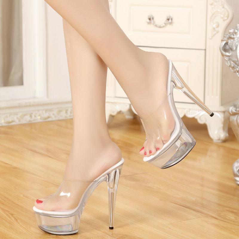 SlippersStage Women Mop Crystal Summer ShoesModel Cool S Free Heels15cm Big High Shopping tQdhrCsx