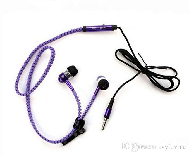 Auriculares con cremallera metálica Auriculares estéreo bajo en el oído con Mic 3.5mm Jack Auriculares para iPhone Samsung MP3 Alta calidad