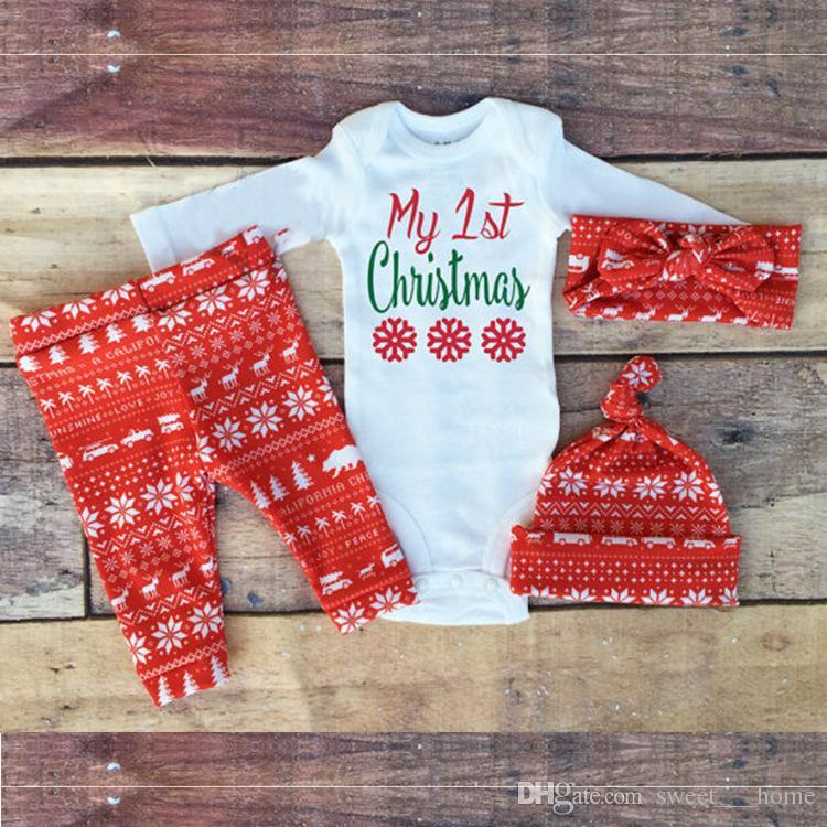 2017My First Christmas Baby Boy Girls Print Tops Romper Clothes Sets ...