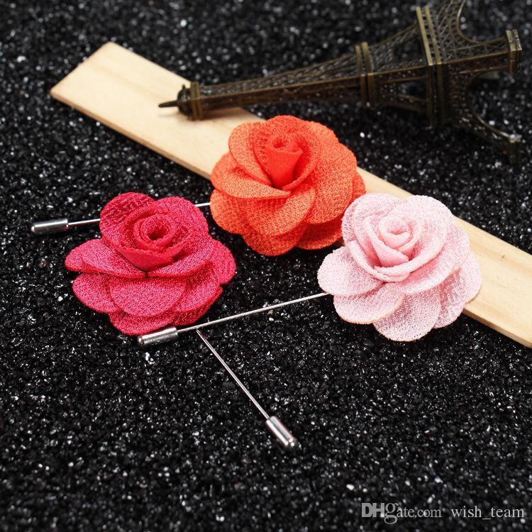 베스트 셀러 Lapel Flower Man 여성 동백 수제 Boutonniere 스틱 브로치 핀 남성 액세서리 22 색