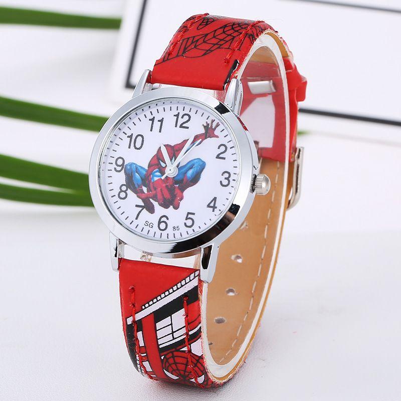 2aa63e62db33 Compre Relojes De Caricatura Reloj Candy De Cuero Niños Encantadores Niños  Niñas Niños Estudiantes Reloj De Pulsera De Cuarzo Reloj Spideman Princess  ...