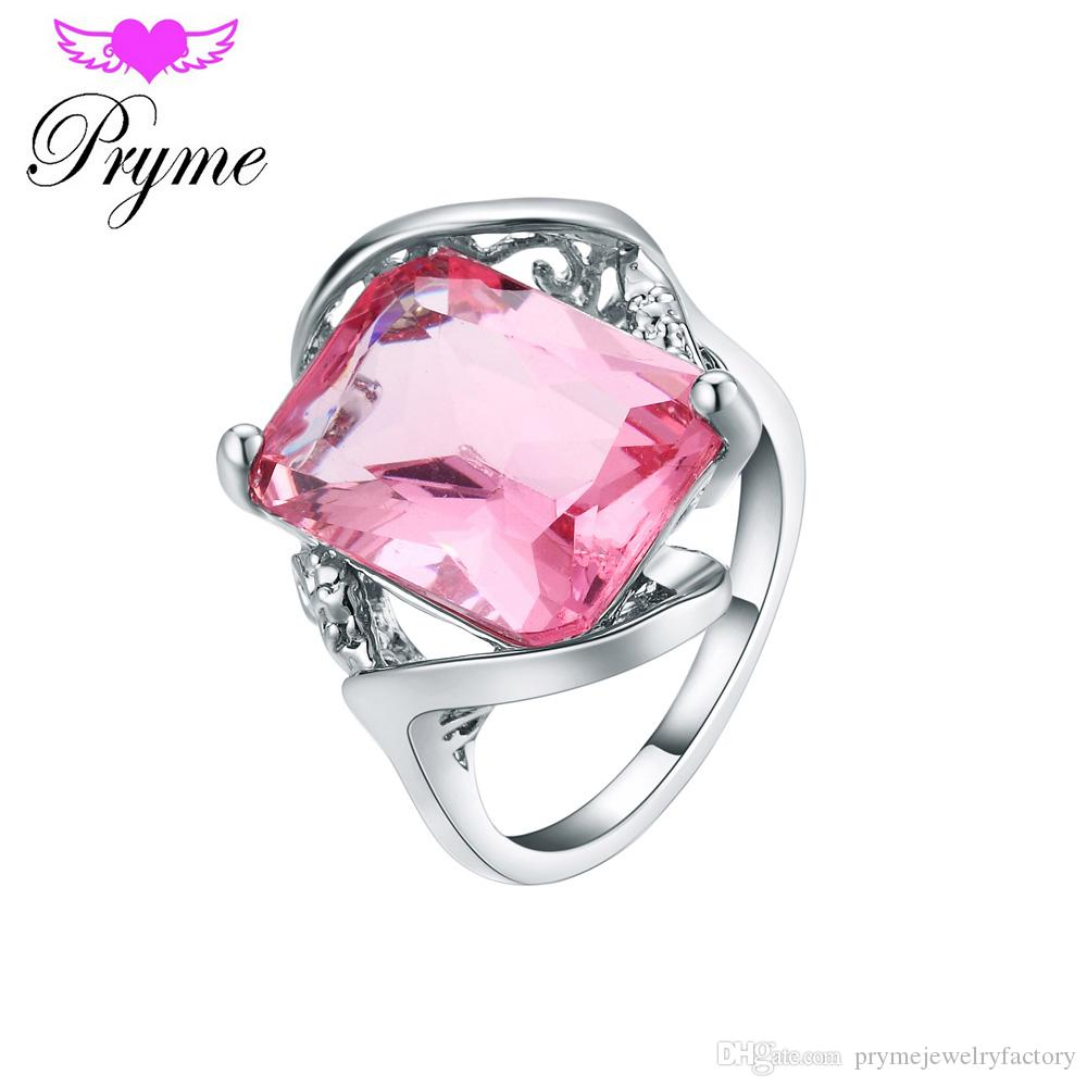 Pryme Square Pink Glass Women Rings Luxury Hypoallergenic Rings For ...