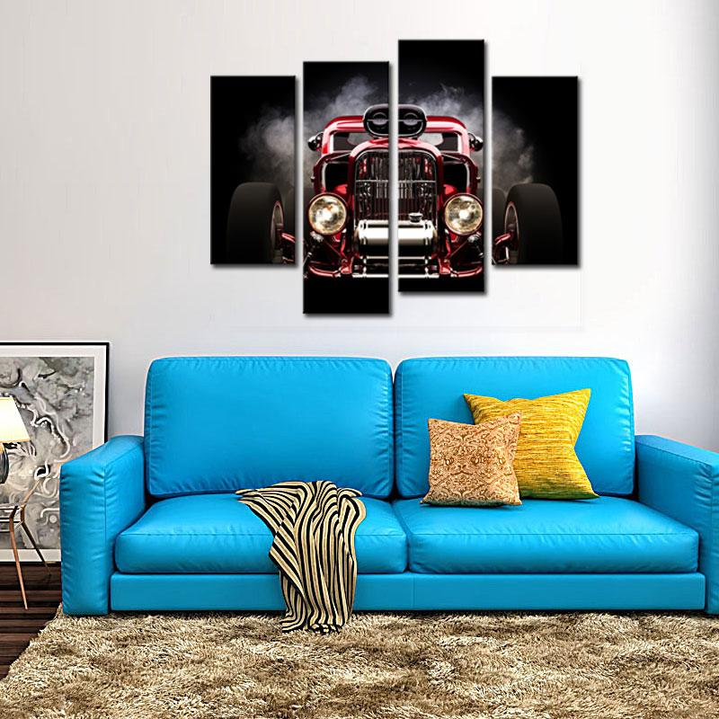 2018 4 Panel Modern Home Decor Wall Art Automobile Paintings Canvas ...