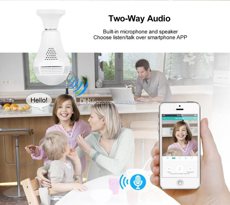 360 degree Wireless Bulb IP Camera Panoramic Bulb Light FishEye camera HD 960p Home Security CCTV Camera Baby Monitor