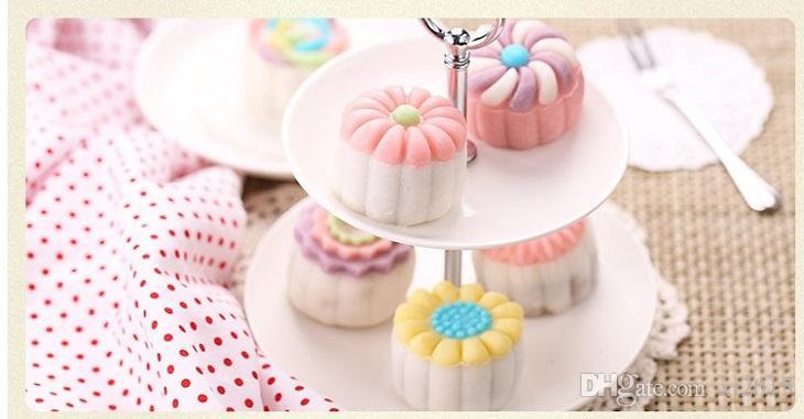 / set Stampo torta 3D Moon 1 Pressa a mano con 6 Flower Shape 50g Mid Autumn Arch Moon Stampi torta wa4104