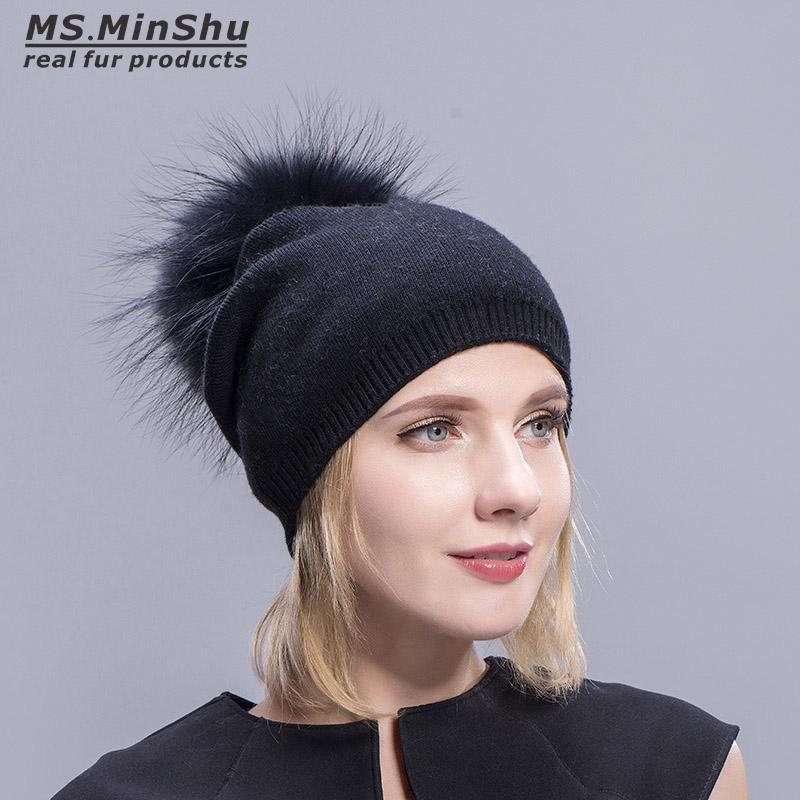 buy online 1c0de dc018 Cappelli di cachemire per le donne Berretto di pelliccia Berretti da donna  Cappelli caldi con vera pelliccia di procione Pompon Beccuccio adulto