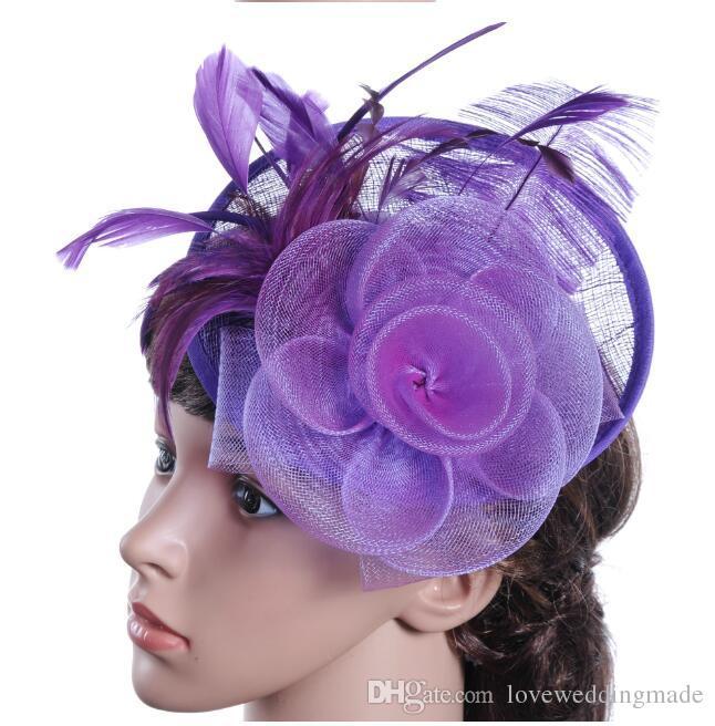 Moderne Heißesten Bunten Feder Fascinator Hüte Für Kirche Hochzeit Abend Prom 2017 Beliebte Damen Stirnband