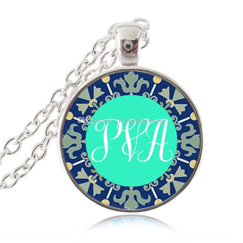 Monogram Initial Necklace Custom Name Photo Pendant Letters Jewelry Glass Cabochon Necklace Personalized Accessories Best Gifts for Mum, Dad
