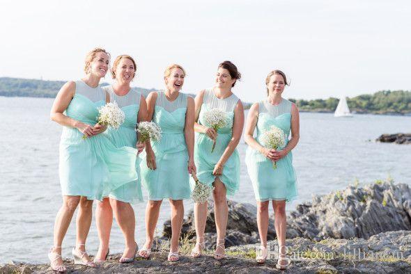 2016 الفيروز قصيرة وصيفة الشرف فساتين شاطئ البلد بحيرة ريفي الزفاف فستان العروسة ألف خط الركبة طول وصيفات الشرف أثواب مخصص