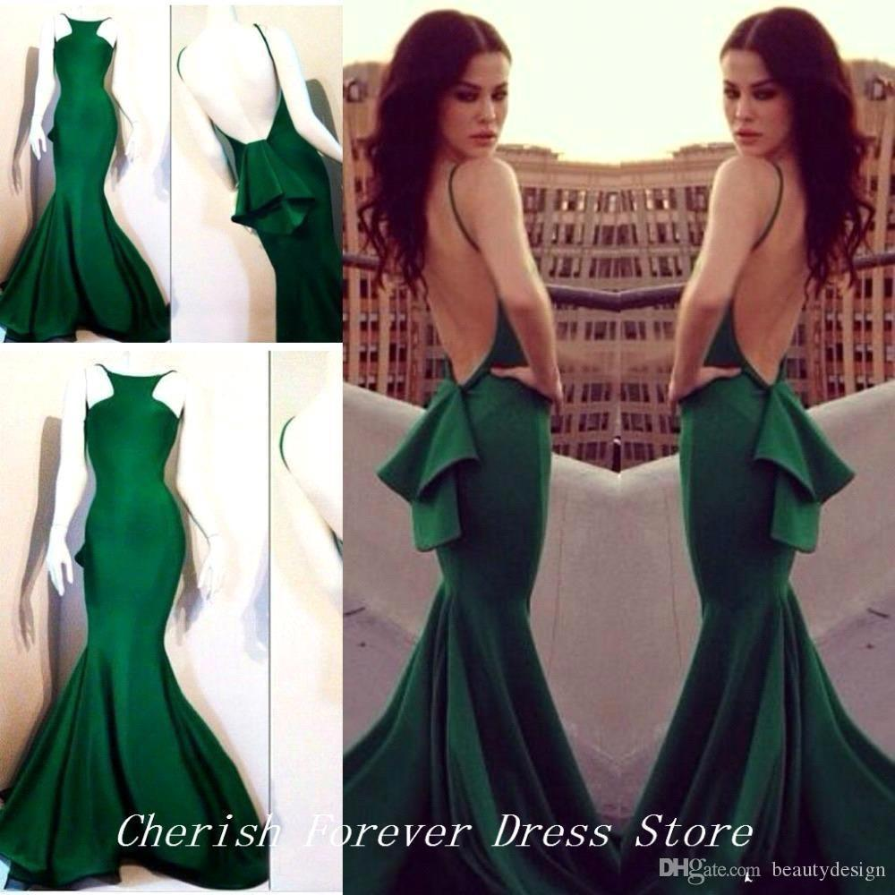 New Emerald Green Michael Costello Mermaid Prom Dresses 2018 Fitted Slim High Neck Backless Long Women Evening Dresses Formal Party Gowns