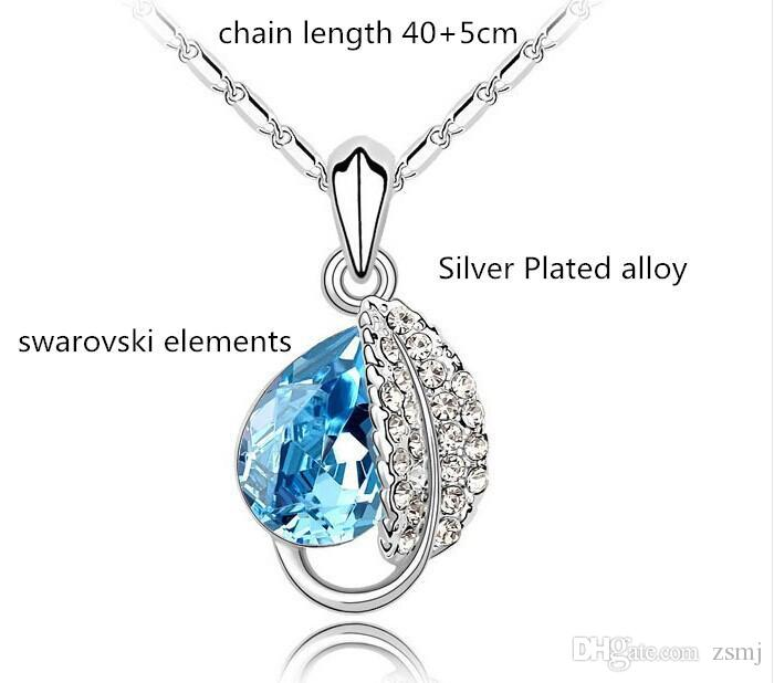 2019 2016 Swarovski Elements Crystal Necklace Earrings Sets Rhinestone  Water Drop Crystal Pendant Platinum Plating Acacia Leaf Stud From Zsmj cd6325d1e66e