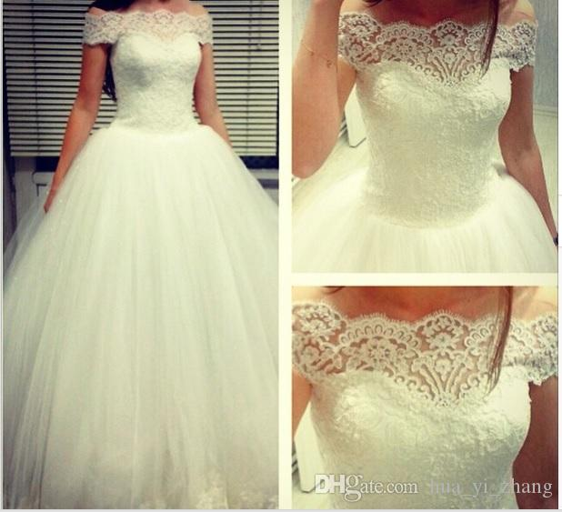 2016 White Princess Bridal Dresses Off the Shoulder Appliques/Beads Tulle Court Train Wedding Dresses Middle East Style