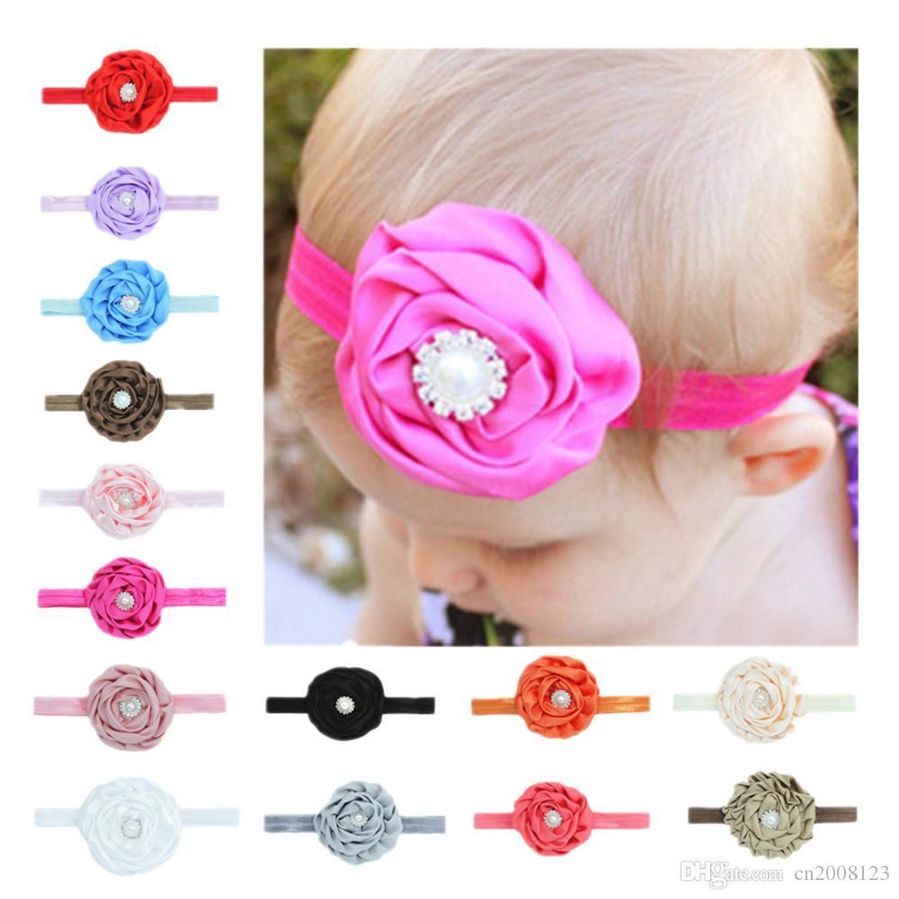 El bebé recién nacido de las muchachas del paño elástico Diamante Rose vendas de la flor Niños Infantiles Bandas de pelo Niños Satén Headwear Accesorios para el cabello Floral BK184