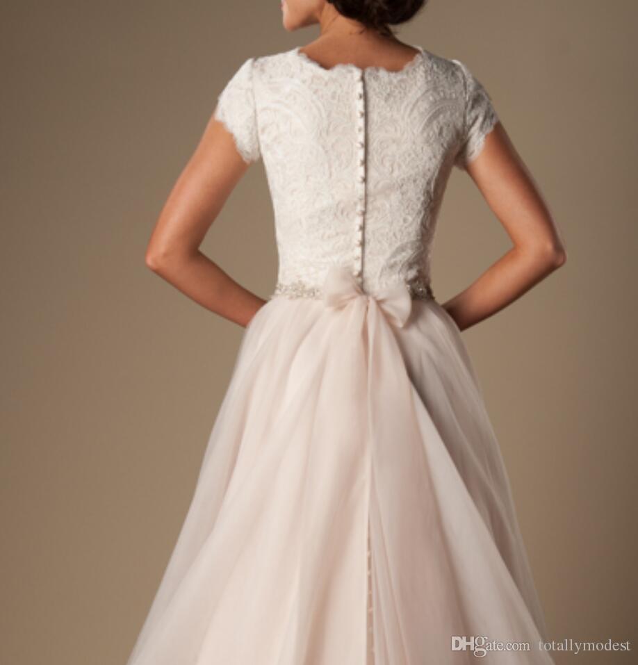 아이보리 샴페인 레이스 얇은 겸손 웨딩 드레스 캡 슬리브 웨딩 벨트 A 라인 신부 가운 사원 웨딩 드레스 새로운 맞춤 제작