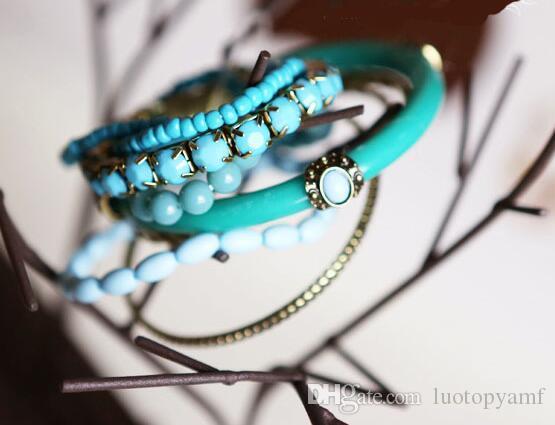 المحيط الأزرق سوار الخرز ريترو بوهيميا نمط متعدد الطبقات سبيكة الأزرق مطرز سوار متعدد الطبقات الخرز الإسورة سوار