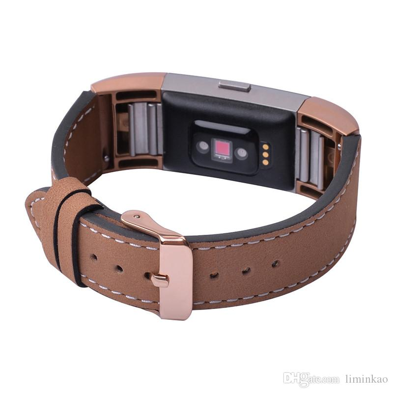 Luxury Genuine Leather Watch Band for Fitbit Charge 2 Wristband Replacement Strap for Fitbit Charge 2 Bracelet with Metal Buckle In Stock