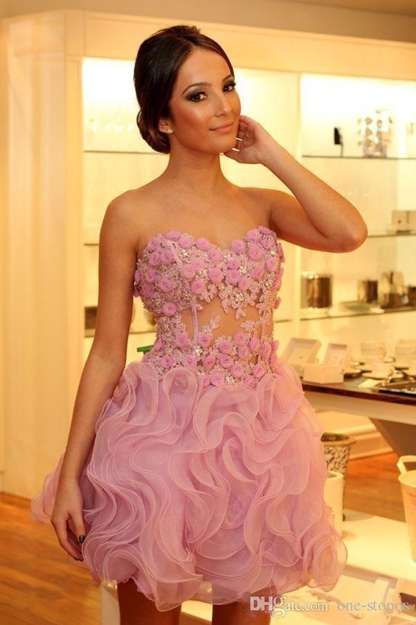 Graceful Little Pink Kurze Cocktailkleider Handgemachte Blumen Appliques Sweetheart Party Kleid Rüschen Organza Mini Homecoming Prom Dress