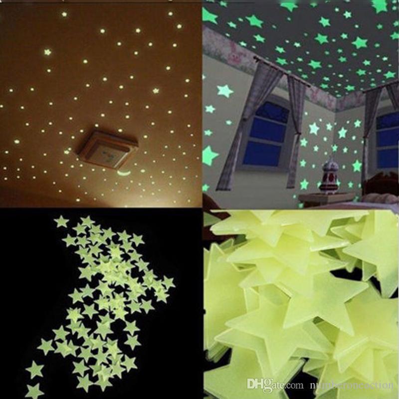 1000PCS 3D Stars Moon Stickers Glow In The Dark Bedroom Wall Room Decor .
