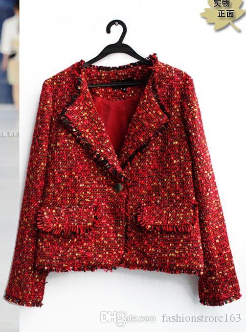 Weihnachtsgeschenk für rote Jacke Original Single Trade Jacken Mantel 2016 rot Revers Jacke Fabrik direkt Rundhals Kurzjacke dicker