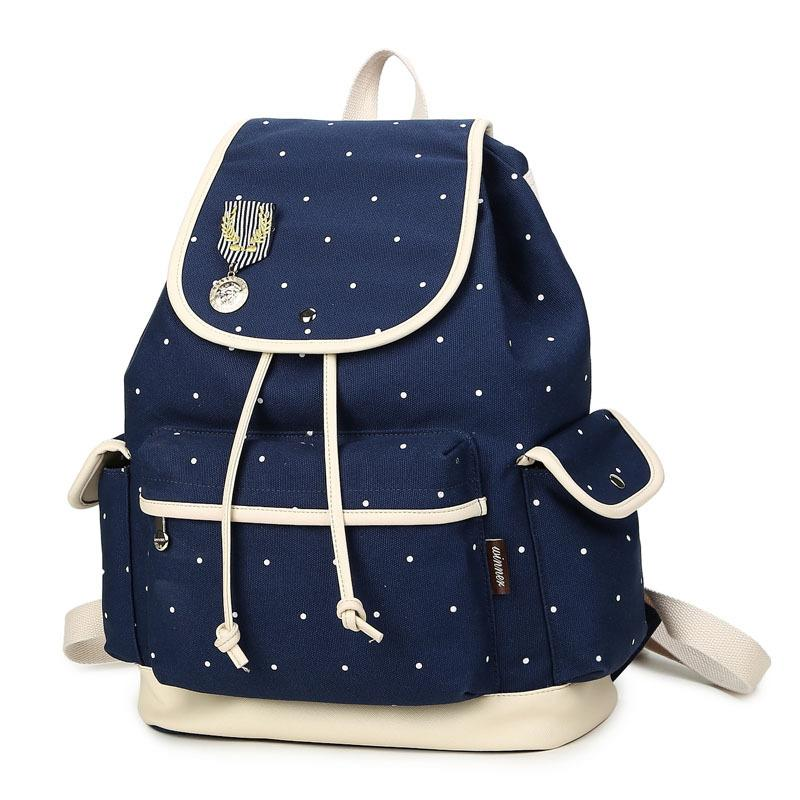 Winner Brand Design Women Backpack Canvas Polka Dot Cute Bookbag Schoolbag Rucksack Travel Bag With Flap Leather Backpacks One Strap From