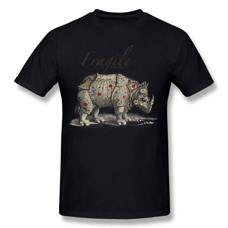 Man's Round Neck Tee Shirts Cool Design 3d T Shirt Men 2017 Fragile rhinoceros Short Sleeve Tshirt classic style for men.
