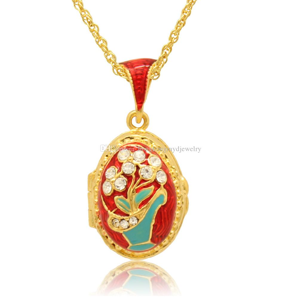 Enameled Flower Basket Faberge Egg Pendant Easter Egg locket for Russian Style Necklace with Crystal and Gold Plated Chain