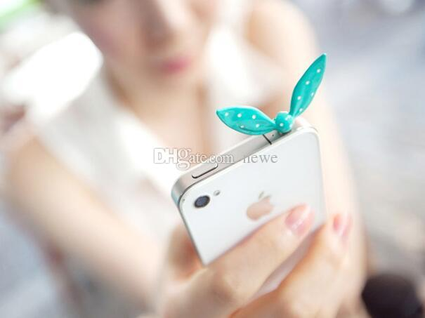 Earphone Limited Dust Plug Dachshund Cute Colorful Rabbit Ear Bowknot Dustproof Plug Caps Cell Phone Accessories