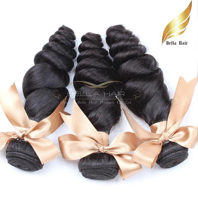 Peruvian Hair Weaves Human Hair Extensions / Loose Wave Double Weft Natural Color Bellahair