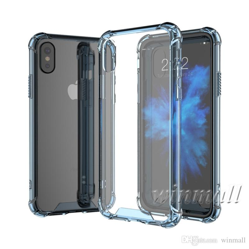 Crystal clear Case For iPhone X XS Max iPhone XR Samsung S9 Plus Soft Air Cushion TPU +Back Acrylic Hard Cover