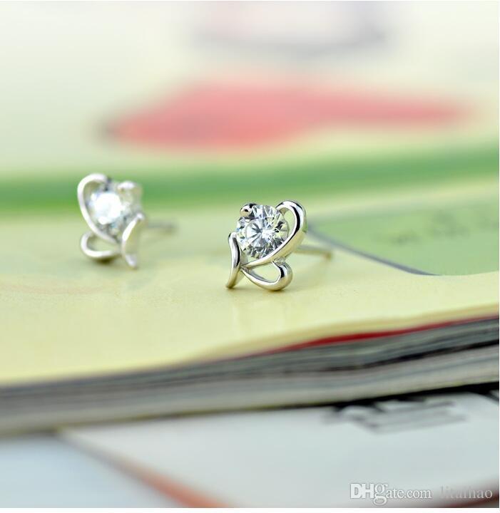 925 sterling silver Butterfly heart-shaped Zircon Earrings Korea Europe for Women jewelry Factory price sales Not fade Gift box