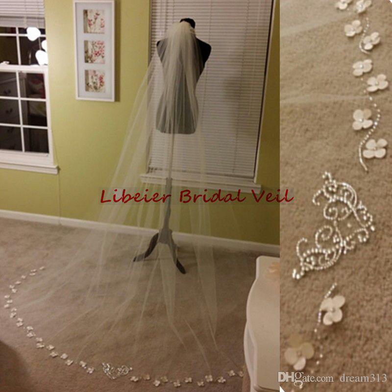 New Highight Couser Best Sale Часовня белая слоновая слоновая кружева Applequique вуаль-мантилла вуаль свадебные кусочки для свадебных платьев