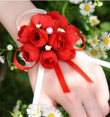Fabricants en gros fournitures de mariage mariée poignet fleur mariage coréen simulation broche chiffon demoiselle d'honneur main fleur 8cm