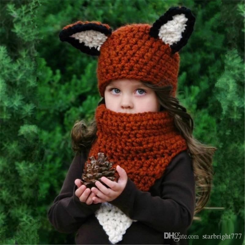 Compre Niños Fox Ear Beanie Scaves Fox Ganchillo Sombreros Envolver ...