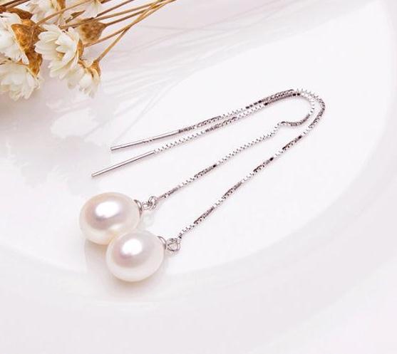 1 Par de 8-9mm Forma de Arroz Blanco Natural Perla de Agua Dulce Ear Line Fashion Earring S925 Tremella Nail