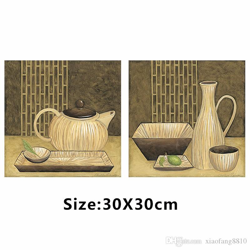 Japanese chinese still life teapot tea cup food plants picture decoration Canvas Painting living room wall Art print unframed