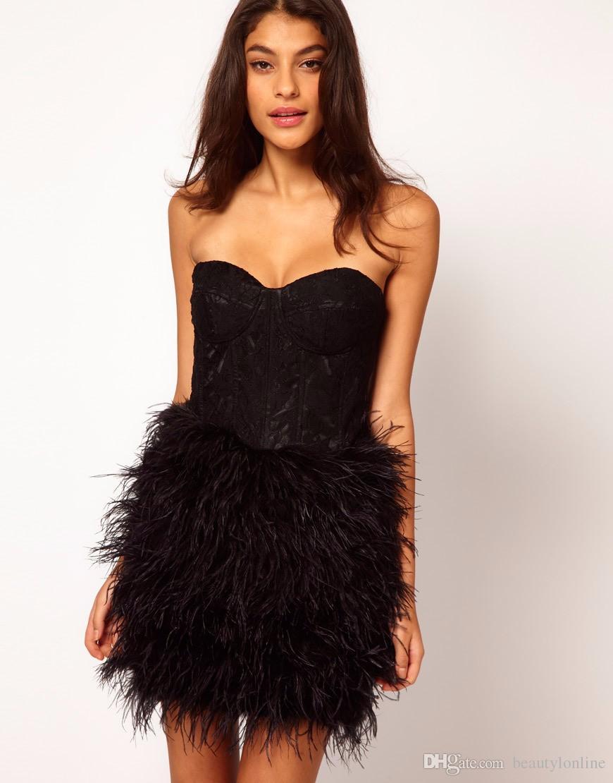 Robe De Cocktail Vestido Coctel Black Lace Feather Short Cocktail ...