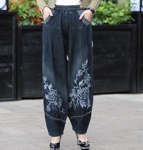 0d158af1d0c63 2019 Bloomers Pants For Woman Cotton Plus Size Elastic Waist Jeans Denim  Embroidery Loose Harem Pants Autumn Spring Female Trouser Casual Bdj0601  From ...