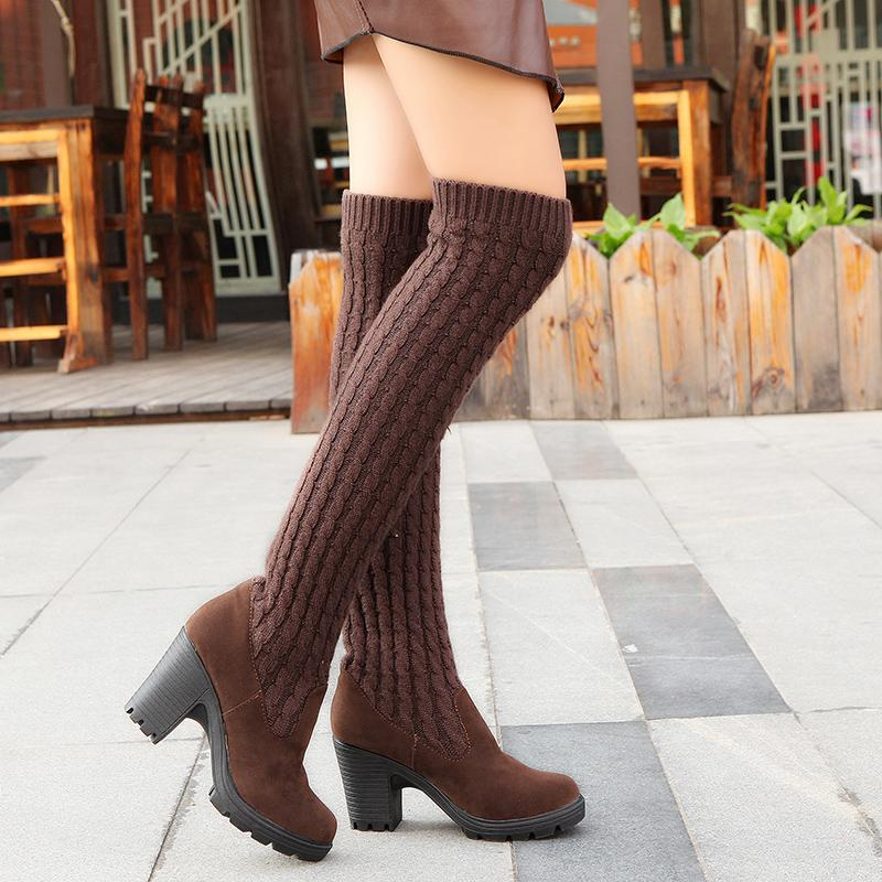 9188eba92c2 2017 Winter Fashion Shoes Woman Knitted Sexy Wear Snow Boots Women Knee  High Boots Elastic Slim Thigh High Heel Black Boots Ski Boots Boots No 7  From ...