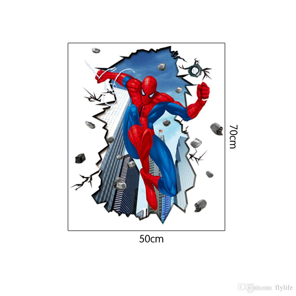Spiderman Wall Art 3d effect scene spiderman wall art stickers decal for home decor