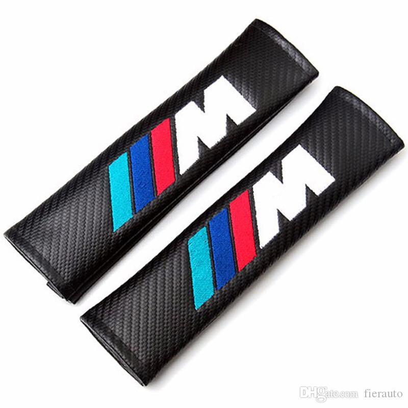 التي من ألياف الكربون السيارات التصميم حزام الأمان تغطية حالة الكتف وسادة لسيارات BMW E46 E39 E90 E60 F30 F10 F20 E36 X5 E53 E34 E30 X3 السيارات-التصميم