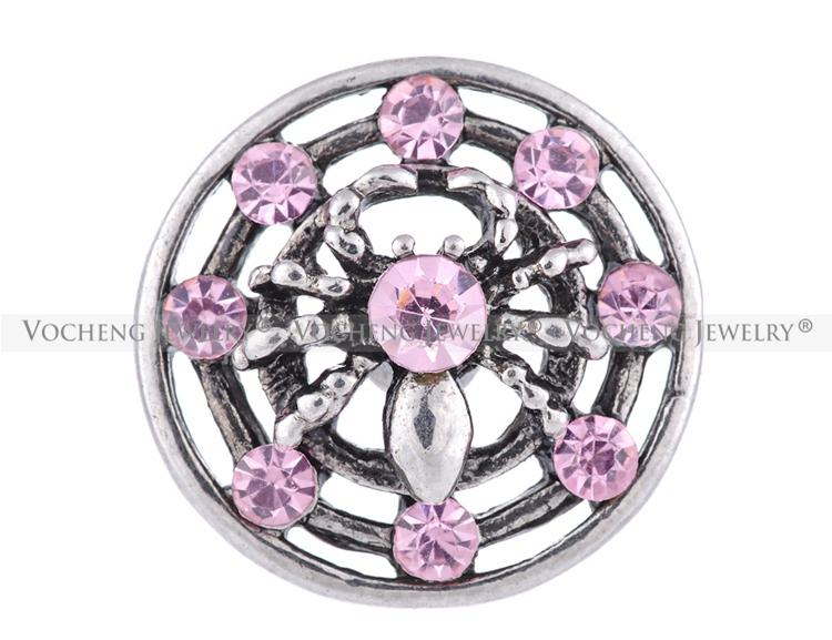 NOOSA 18mm Snap Charms Inlaid Crystal Floral Metal Snap Button 18mm Vn-1096