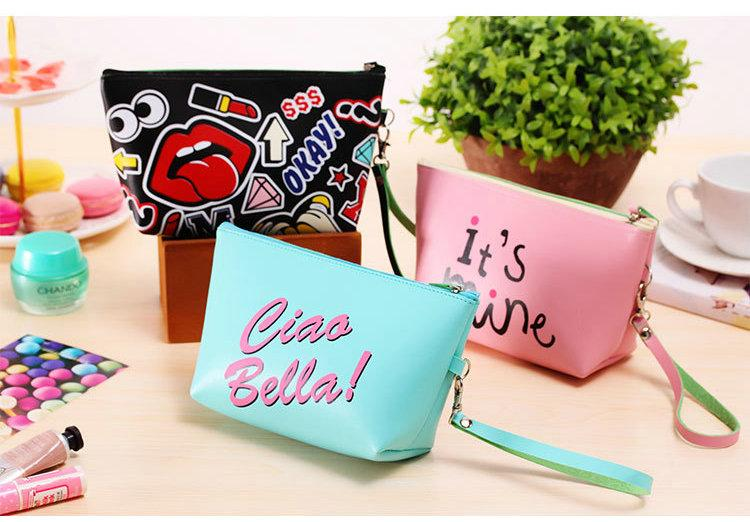 Cute Modern Girl Makeup Storage Bag Makeup Cosmetic Bag Lady Waterproof PU Leather Make Up Case Tour Toiletry Bag