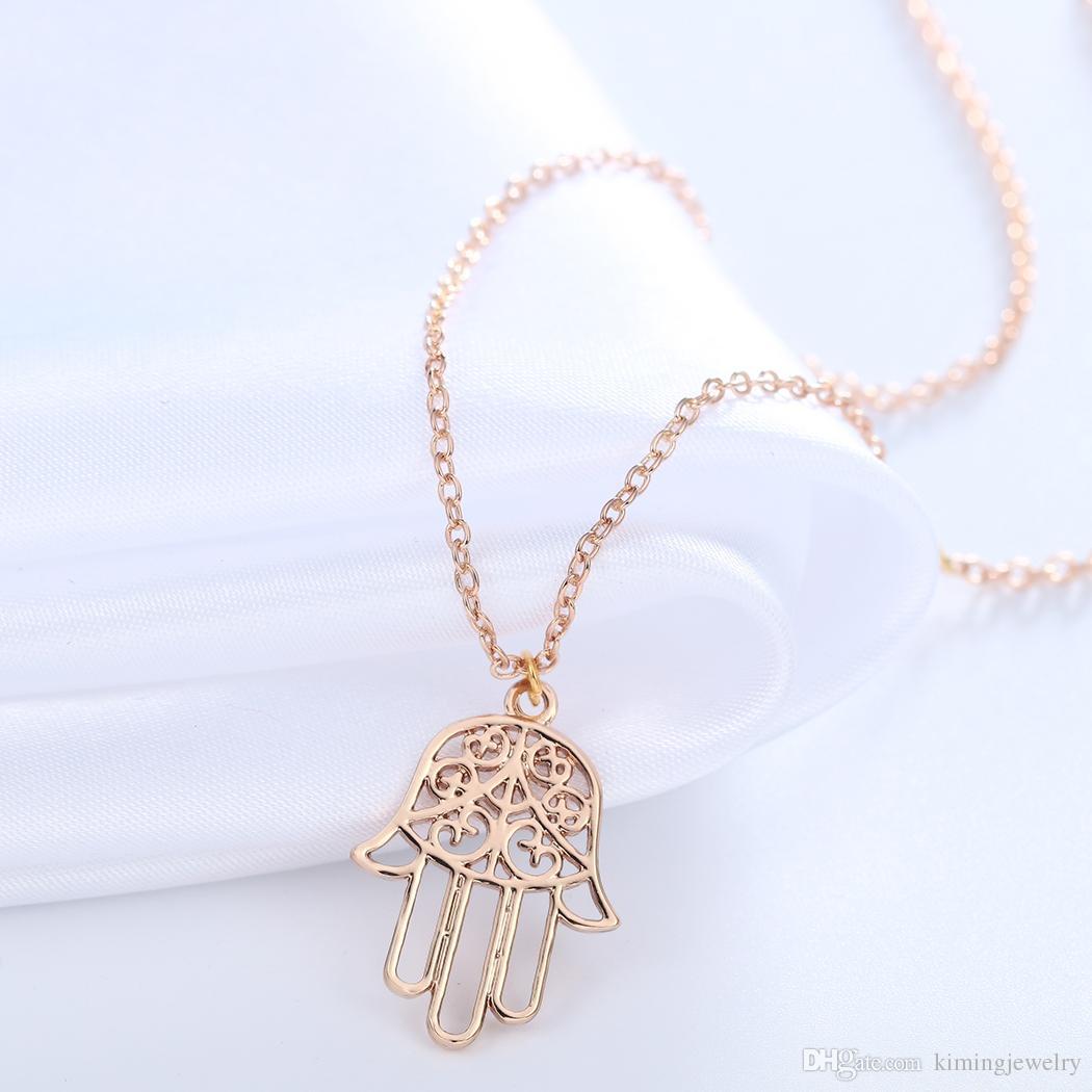 Bridesmaid Gift Gold Silver Hamsa Necklace Brand Jewelry Fatima Hand Pendant Accessories for Women Hot Sale