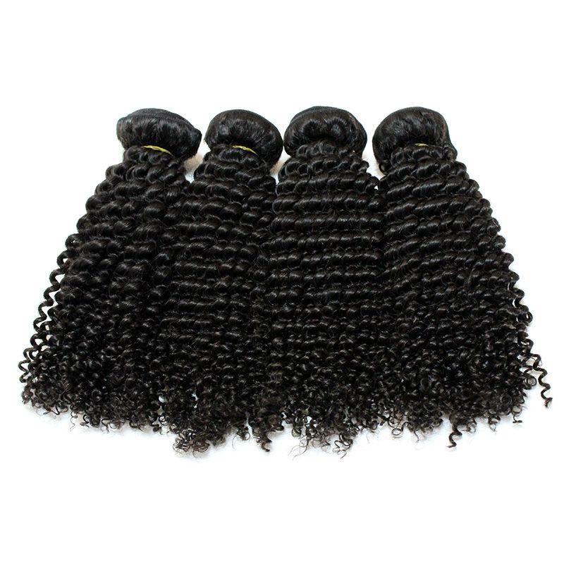 Envío gratis Top 7A Virgin Virgin Mongolian Tronco Natural Color Kinky Curly Hair Extensions Mezclado 8-28 pulgadas profunda Rizado Humano Weave