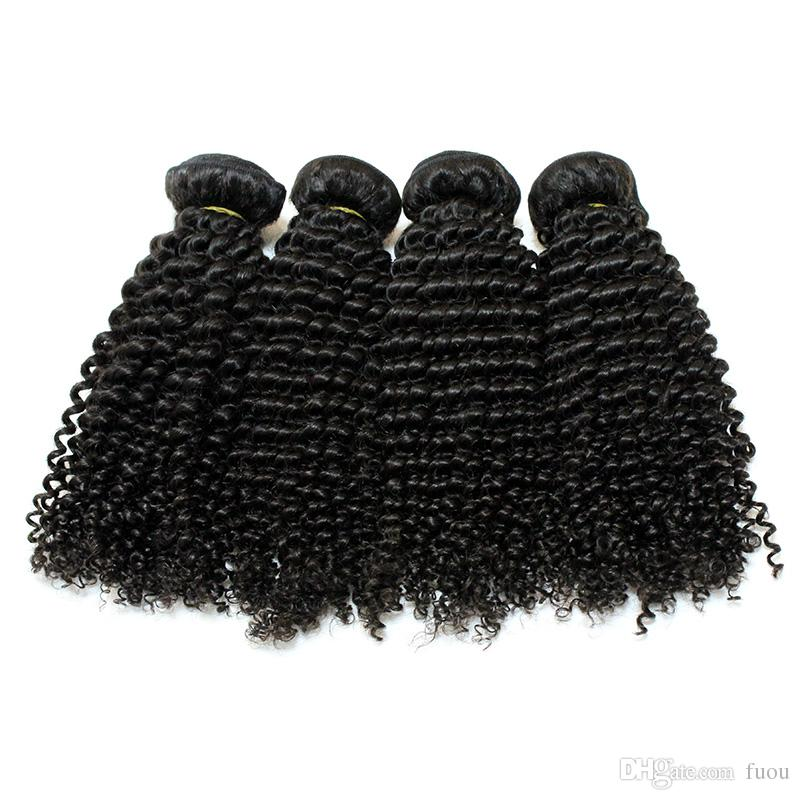 Top 7A virgin mongolian hair weft natural color kinky curly hair extensions mixed 8-28inch deep curly human hair weave